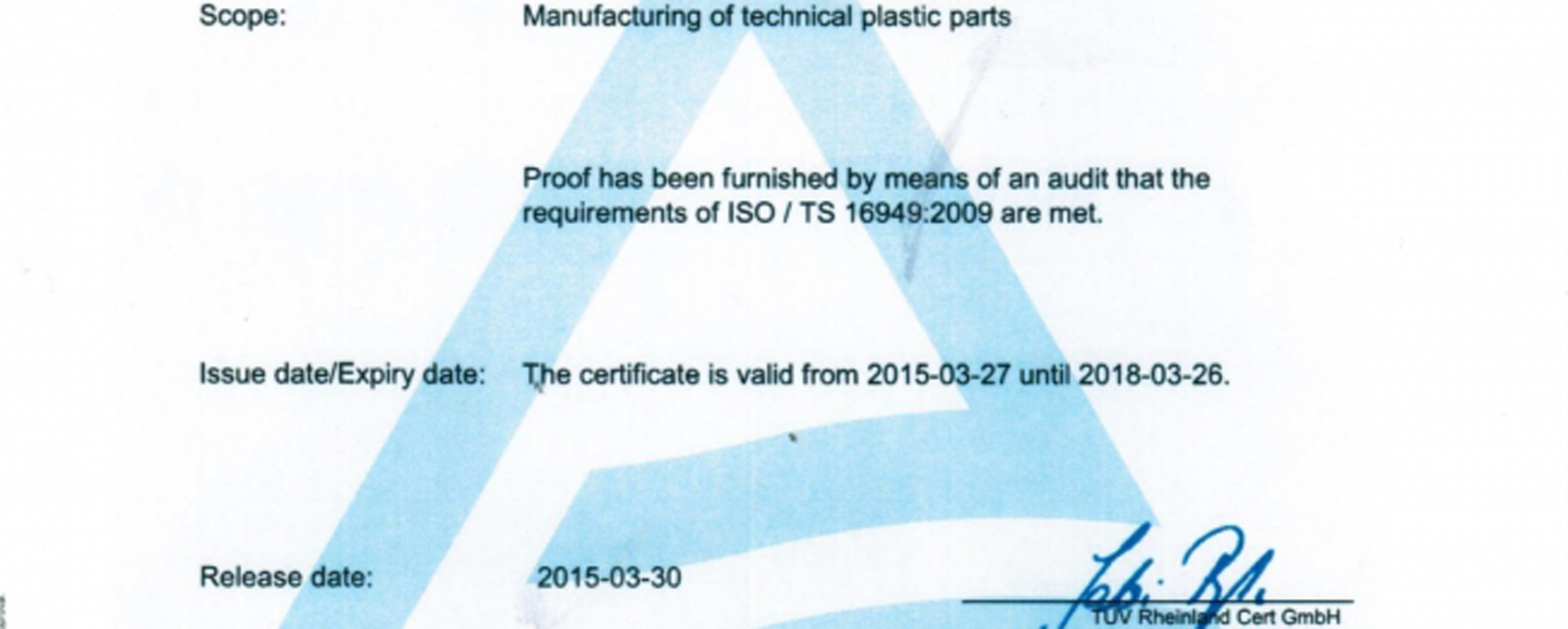 Certification qualité(ISO TS 16949:2009)